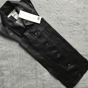 NWT Veronica Beard Leather Slate Dickey Black